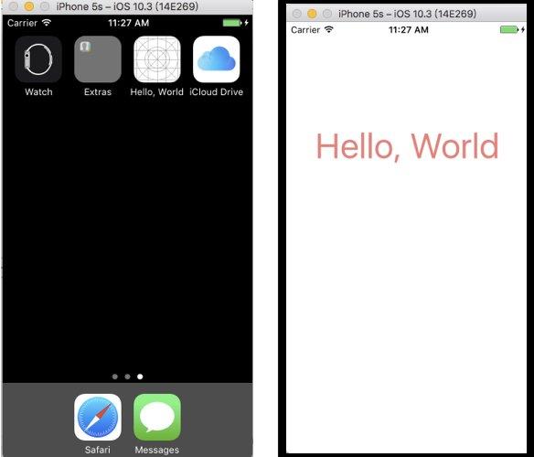 Swift教學 Hello World 成果